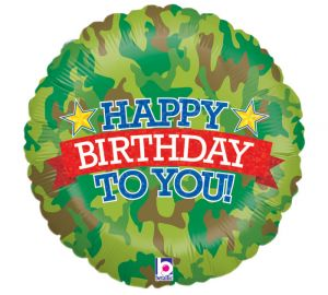 Camo Birthday Holographic Balloon