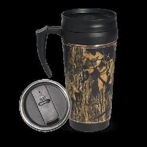 Camo Leather Travel Mug