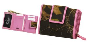 Pink Trimmed Trifold Wallet