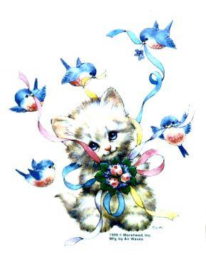 Kitten with Bluebirds T Shirt