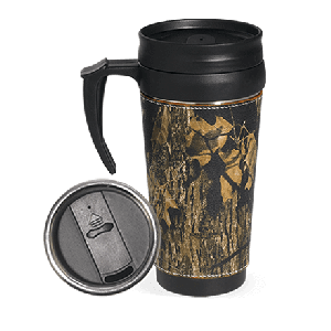 Camo Leather Travel Mug